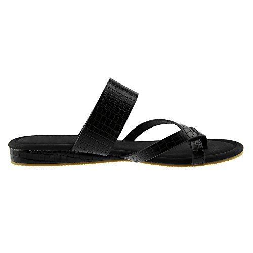 Ermonn Kvinner Strappy Flip Flop Flate Sandaler Tilfeldige Sommersko Svart