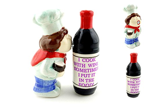 (Collectible Ceramic Chef Kissing Wine Bottle Salt and Pepper Shaker Set)