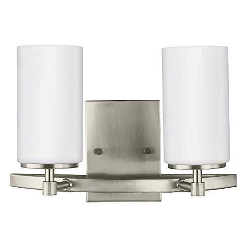 (Sea Gull Lighting 4424602-962 Alturas Two Bath or Wall Fixture with Etched White Inside Glass Shades, Brushed Nickel Finish)