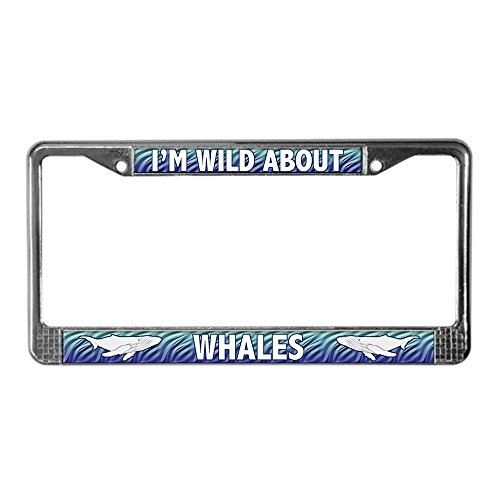 (CafePress - Wild About Whales License Plate Frame - Chrome License Plate Frame, License Tag Holder)