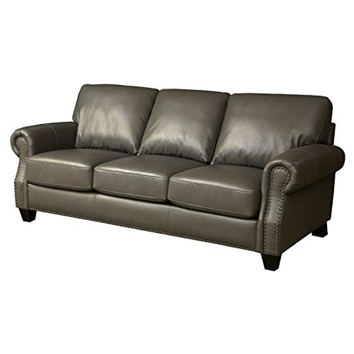 Amazon.com: Abbyson Living Lenny Leather Sofa in Gray ...