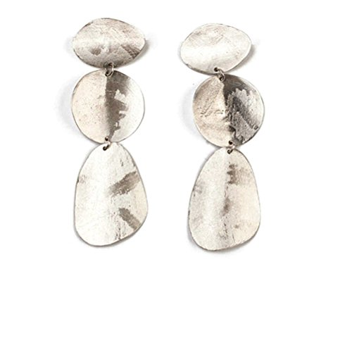 Chan Luu Sterling Silver 3 Tier Elongated Circle Abstract Drop Earrings Chan Luu Silver Earrings