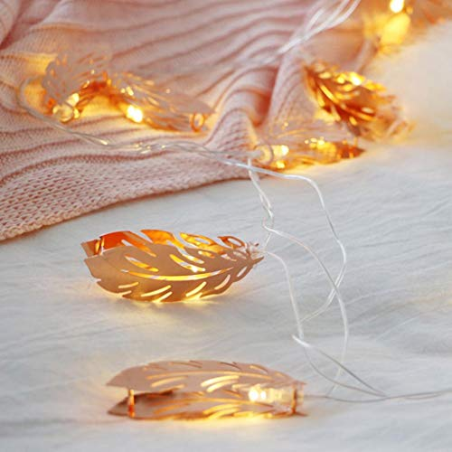 H+K+L LED Battery Operated Room Decoration Light Romantic Wedding Rose Golden Feather Bedroom Light (A)