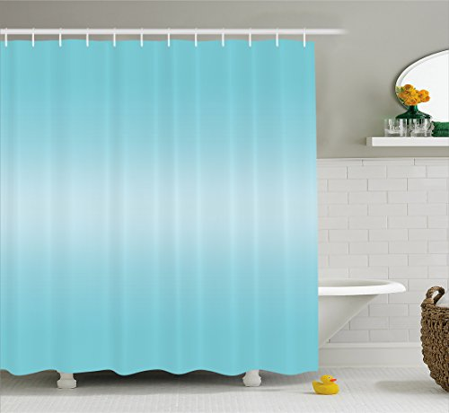 Ambesonne Ombre Shower Curtain, Open Blue Sky on a Spring Day Inspired Blue Colored Modern Design Room Decorations, Fabric Bathroom Decor Set with Hooks, 70 Inches, Turquoise