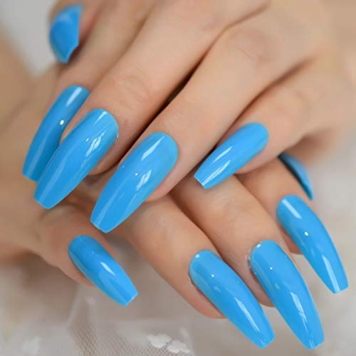 EDA LUXURY BEAUTY NEON BLUE GLAMOROUS DESIGN Gel Glitter Full Cover Press On Shiny Artificial Nail Tips Acrylic Extreme False Nails Extra Long Ballerina Ballet Coffin Square Super Fashion Fake Nails