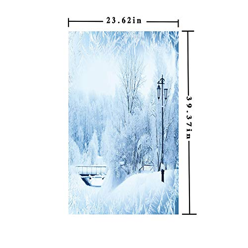 3D No Glue Static Decorative Privacy Window Films,Winter Trees in Wonderland Theme Christmas New Year Scenery Freezing ICY Weather Decorative,W15.7xL63in,for Home Office with]()