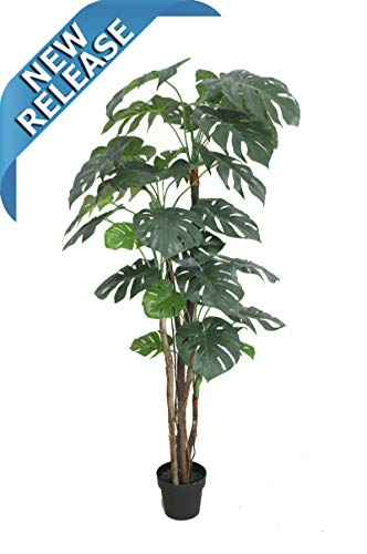 AMERIQUE Gorgeous & Unique 6 Feet Pre-Potted Monstera Palm Split Philo Artificial Plant Silk Tree, Real Touch Technology, with UV Protection, Indoor & Outdoor, Super Quality, 6' Green