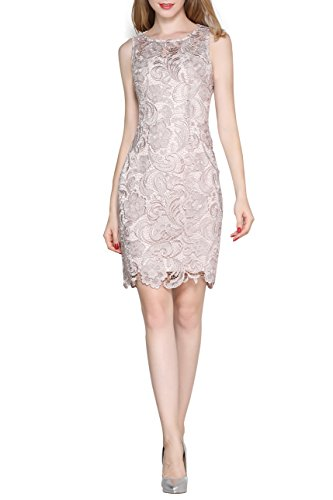 Little Smily Women's Crochet Lace Form Fitting Scoop Neck Cocktail Dress, Beige, M (Stretch Dress Lace)