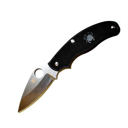 Spyderco UK Penknife Black FRN Leaf PlainEdge Knife, Outdoor Stuffs