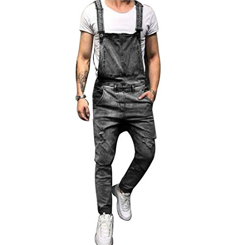 Hzcx Fashion Men's Ripped Denim Bib Overalls Slim Straight Coveralls with Pocket 2019042301-60-GR-US L(36