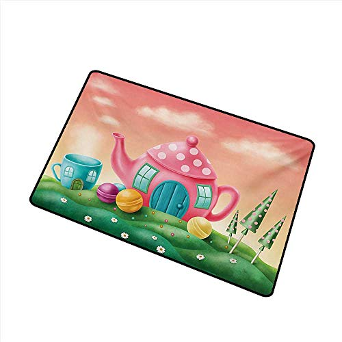 duommhome Outdoor Doormat Fantasy Fantasy Teapot and Cup Houses Wonderland Theme Meadow Teatime Happiness Artwork W24 xL35 All Season General