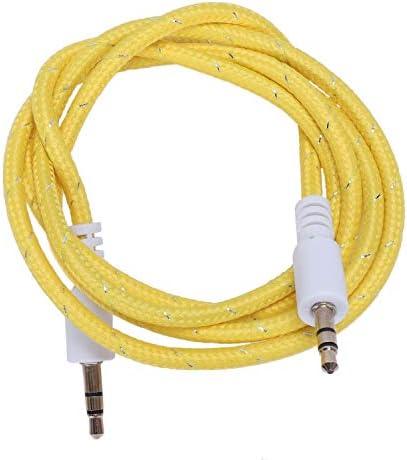 ACAMPTAR 1M 3,5 Mm Stereo-Stecker auf Stecker-Aux-Kabel Audio-Aux-Kabel für Telefonauto, Gelb