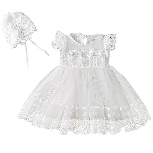 Xopzsiay Baby Girl Lace Cap Sleeve Embroidered Trim Christening Gown Baptism Tulle Dress with Bonnet Ivory Size 12M