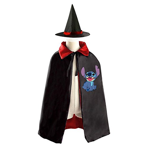 Jumba Jookiba Costume (Lilo And Stitch Logo Kids Halloween Party Costume Cloak Wizard Witch Cape With Hat)