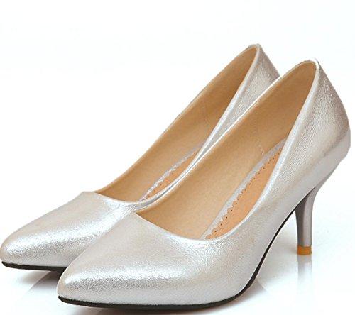 YCMDM Nuovo Tacchi alti donne scarpe da sera essenziali della molla di modo di autunno Oro Argento Blu Rosso 35 36 37 38 39 , silver , 100W
