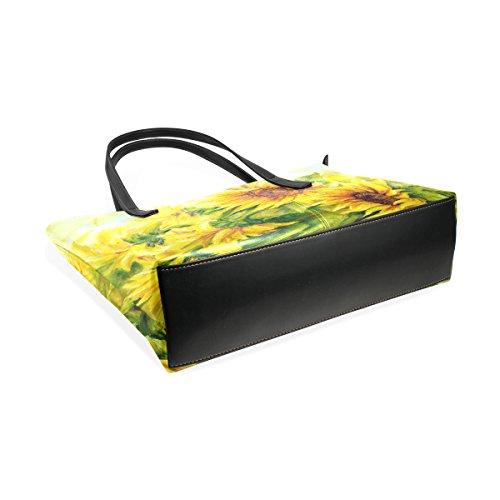 COOSUN Sunny Sunflowers PU Leder Schultertasche Handtasche und Handtaschen Tasche für Frauen