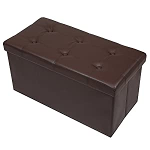 Otto & Ben 30 inch Button Design Memory foam Seat Folding Storage Ottoman Bench with Faux Leather, Brown