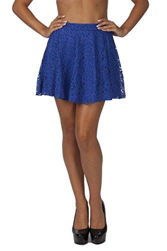 Hollywood Star Fashion Women's Lace Circle Cotton Mini Skirt (Medium, Royal Blue) (Mini Big Skirt Star)