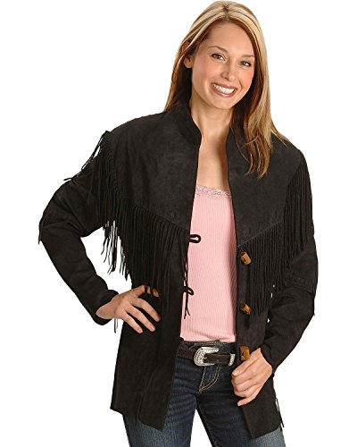 Scully Women's Fringe Suede Leather Jacket Black X-Large