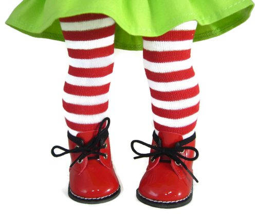 Red/White Striped Tights & Red Booties made for American Girl doll -
