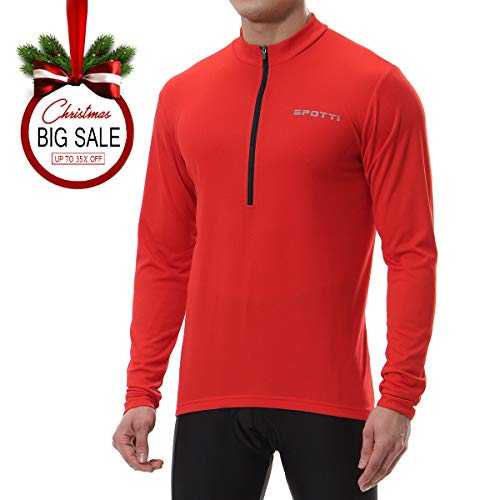 Spotti Mens Long Sleeve Cycling Jersey, bike biking Shirt - Breathable and Quick Dry, Red, Chest 38-40 - Medium