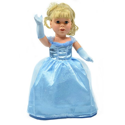 Fits 18 Inch American Girl Dolls Fabulous Cinderella Inspired Ball Gown with Gloves - 18 Inch Doll Dress Clothes Outfit