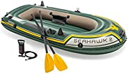Intex Seahawk 2, 2-Person Inflatable Boat Set with French Oars and High Output -Air -Pump (Latest Model)