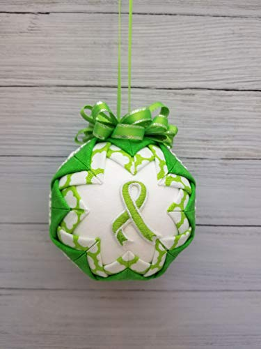 Lime Green Awareness Ribbon Quilted Fabric Christmas Tree Ornament. Lymphoma, Lyme Disease from Call Her Blessed Crafts