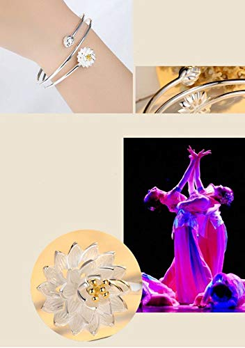 Scrox 1x Pulsera Plateada Color Lotus Pulsera Partida Pulsera Redonda Aberturas joyer/ía de Plata Regalo para Novia