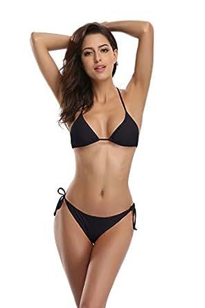 SHEKINI Women's Tie Side Bottom Push Up Padded Top Triangle Bikini Bathing Suit (Small, Black)
