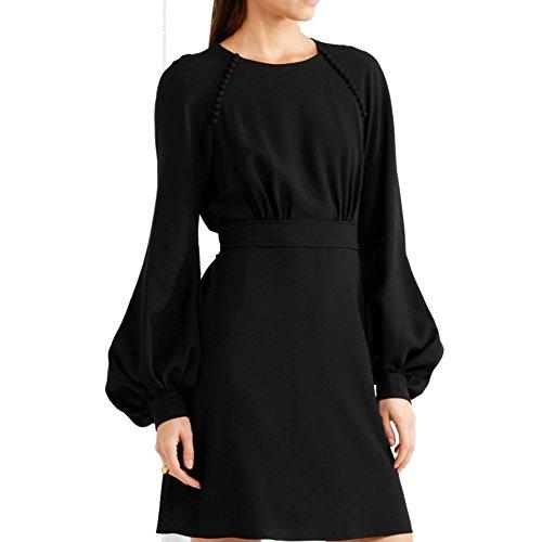 eReeder Women's Round Neck Long Puff Sleeve Midi High Waist Dress,medium,black