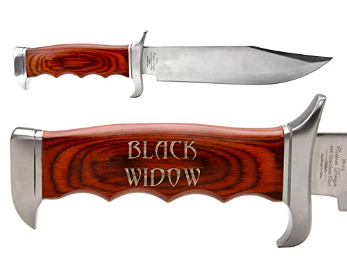 NDZ Performance Elk Ridge Outdoor Hunting Fixed Blade Full Tang Bowie Knife Black Widow Text 2 Line ()