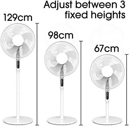 Cozytek White 14inch Oscillating Pedestal Standing Fan, Remote Control & Timer 1 – 18Hrs, 50W White, 3 Speed, Adjustable Stand 67-129cm