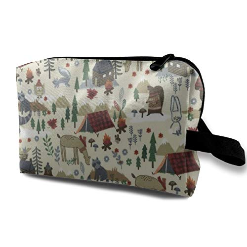 Camp Bear Animals Cosmetic Bags Makeup Organizer Bag Pouch Zipper Purse Handbag Clutch Bag