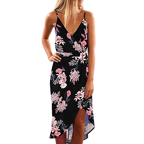 - Women Dress Summer V Neck Sleeveless Dress Strap Floral Print Dress Split Beach Sundress Black