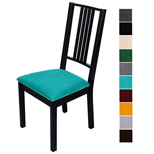 (smiry Original Velvet Dining Chair Seat Covers, Stretch Fitted Dining Room Upholstered Chair Seat Cushion Cover, Removable Washable Furniture Protector Slipcovers with Ties - Set of 4, Teal)