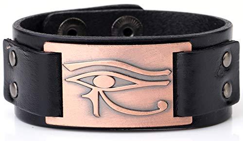 My Shape Eye of Horus Ra Thoth Udjat Leather Cuff Bracelet Egyptian Amulet Pagan Jewelry (Antique Gold,Black)