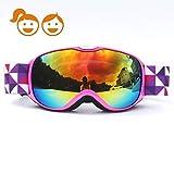 HONCENMAX Kids Ski Goggles - Snow Snowboard Goggles - Helmet Compatible -