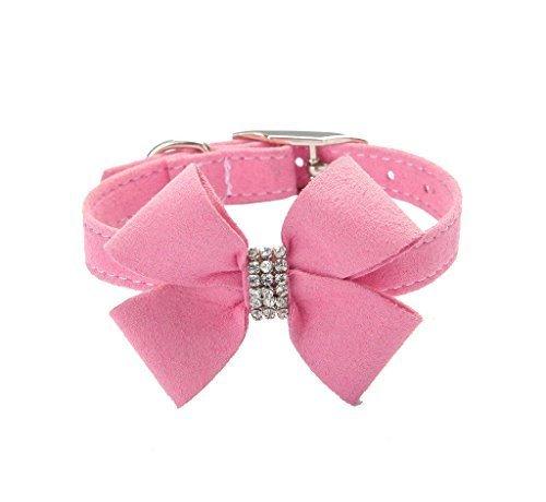 BINGPET Bow Tie Crystal Boy Girl Dog Collar Designer Fancy Bling Rhinestone Collars for Dogs, Pink L ()
