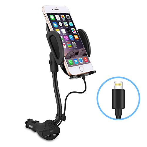 - Te-Rich Gooseneck Cigarette Lighter Phone Holder Power Outlet Car Mount Charger with Built-in Charging Cable for iPhone X 8 7 6S 6 5 SE 5S 5C