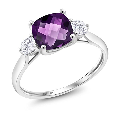 Gem Stone King 10K White Gold Solitaire w- Accent Stones Ring Cushion-Checkerboard Purple Amethyst and Timeless Brilliant Created Moissanite IJK 0.26ct DEW Available 5,6,7,8,9