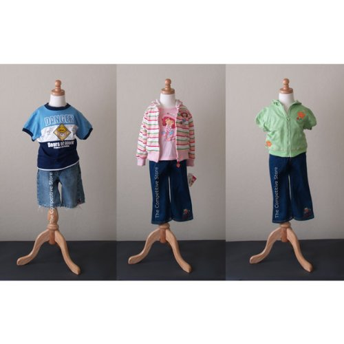Kids 3-4 Years Child Jersey Mannequin Dress Form - Boy or Girl - White with Natural Tripod Base