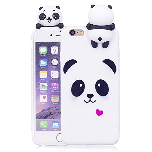iPhone 6S Case,iPhone 6 Case,DAMONDY 3D Cute Cartoon Animals Pattern Soft Silicone Gel Slim Design Rubber Thin Protective Cover Phone Case for Apple iPhone 6 / 6S 4.7 inch-white panda (Silicon 3d Case Design)