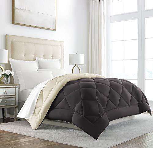 Sleep Restoration Down Alternative Comforter - Reversible - All-Season Hotel Quality Luxury Hypoallergenic Comforter -King/Cal King - Brown/Cream