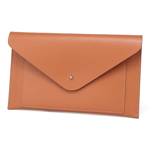 Womens Envelope Clutch Wallet Leather Card Phone Coin Holder Organizer, Brown by Paraweyse