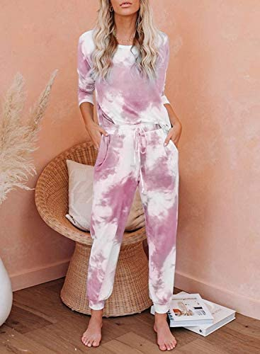 GRAPENT Women Tie Dye Print Pajama Set Loungewear Top and Pants Jogger Sleepwear