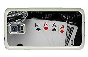 Hipster carry Samsung Galaxy S5 Case aces poker cards PC White for Samsung S5