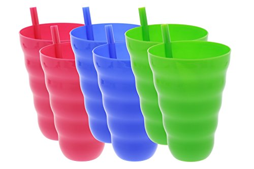 (Arrow Sip-A-Cup with Built In Straw For Kids Includes Blue, Green, Pink, 22 oz (6 Pack))