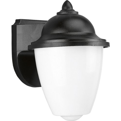 Progress Lighting P5844-31 Black Outdoor 1-Light Plastic Wall Lantern with White Acrylic Glass, Black (Wall Plastic Lighting)