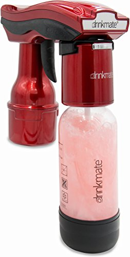 Drinkmate 40-02-3Z Spritzer Portable Sparkling Water and Beverage Carbonator with 2 3 Oz. CO2 Cylinders, Metallic Red (Portable Beverage)